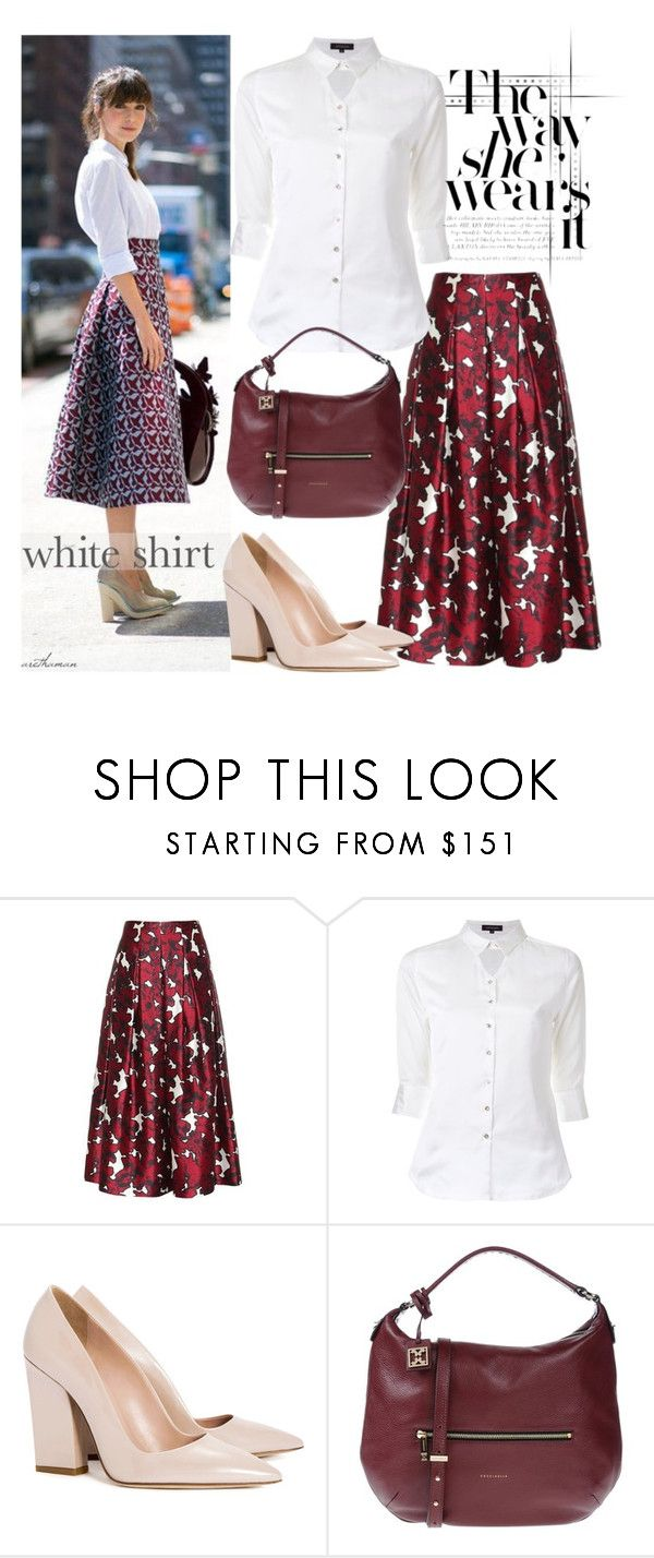 """White Shirt + Printed Midi Skirt"" by arethaman ❤ liked on Polyvore featuring Oscar de la Renta, Loveless, Dee Keller, Coccinelle, GetTheLook, StreetStyle, whiteshirt, printedskirt and WardrobeStaples"