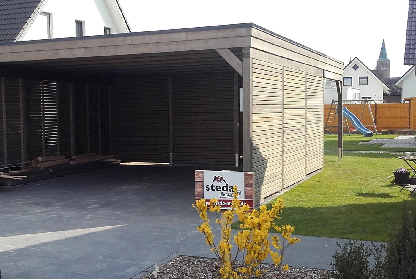 genug Ein Carport verkleidet mit Rhombusleisten, denn die Holzfassade FG82