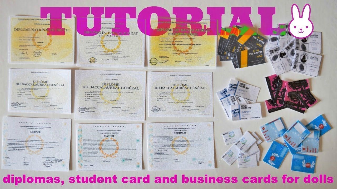 Miniature Diplomas, Student Card, and Business Cards | Fashion ...