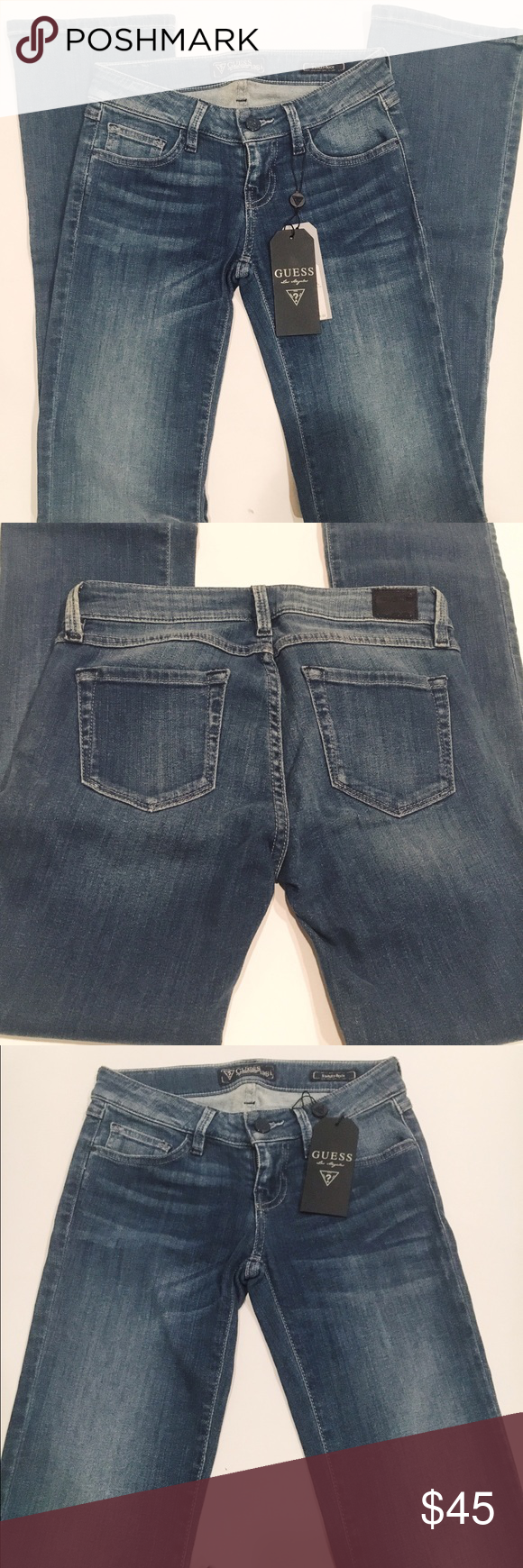 """Guess Slim Fit Denim Boot Cut Jeans Dream Catcher Wash. Size 25 with 32"""" inseam. New with tags. Guess Jeans Boot Cut"""