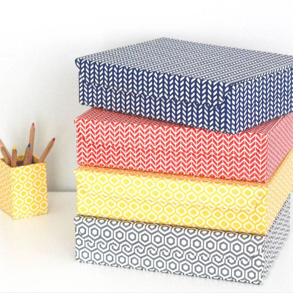 File Boxes Decorative Heart & Parcel Recycled Geometric A4 Storage Box File $23