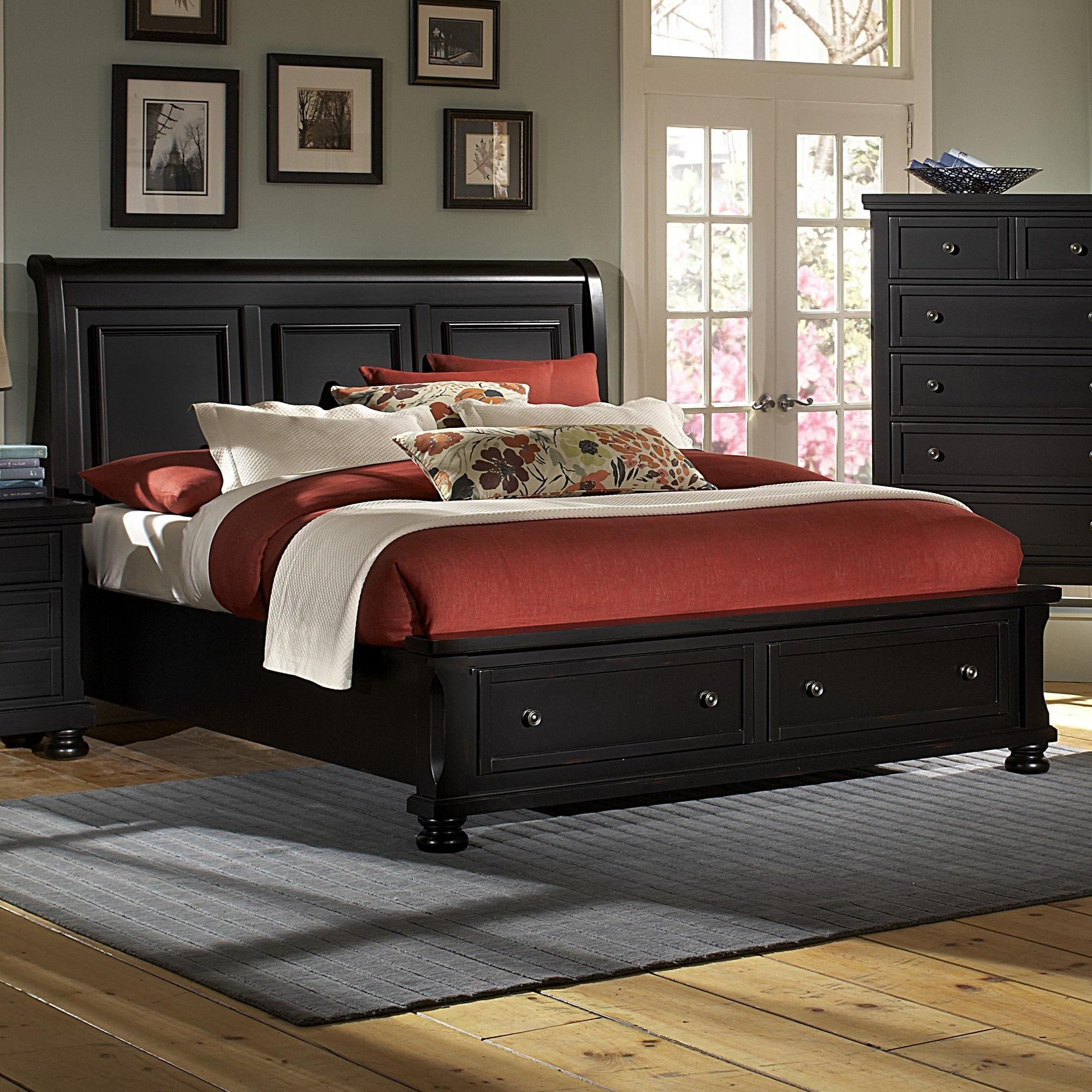 reflections ebony bedroom sleigh king storage bed bernie and phyls