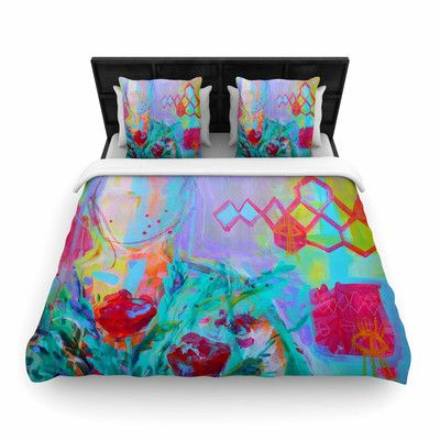 East Urban Home Girl With Plants I Woven Duvet Cover Size: Queen