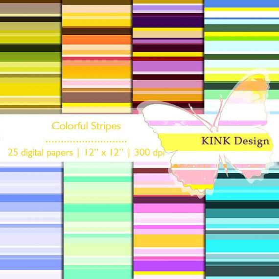 Rainbow Stripes Backdrop Pattern Digital Paper Print Background