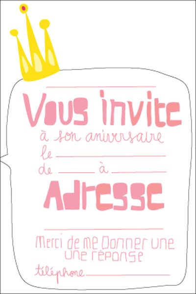 Carte Anniversaire Princesse Gratuite à Imprimer Invitation