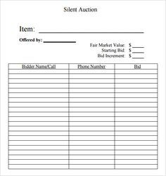 silent auction bid sheet template  free printable silent auction template | Silent Auction Bid Sheet ...