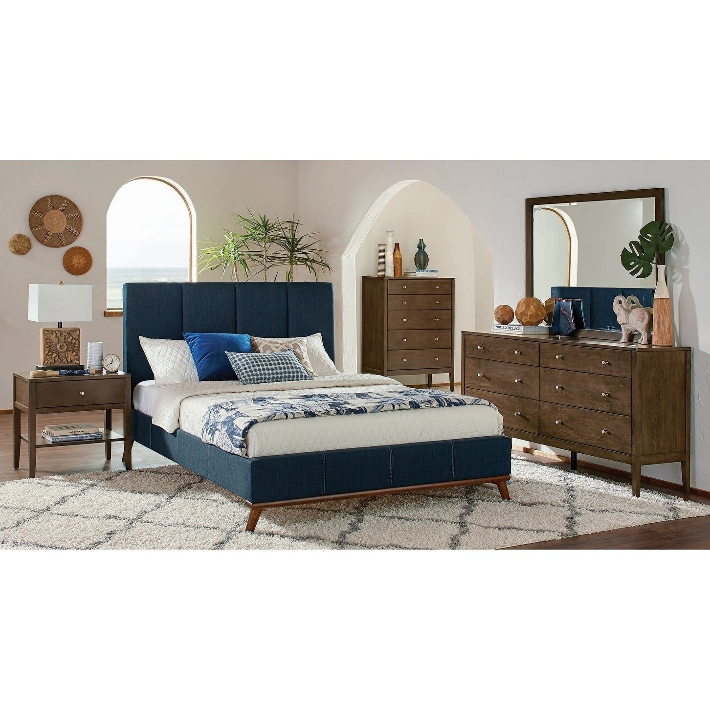 Alden Ash Brown and Blue 6-piece Platform Bedroom Set ...