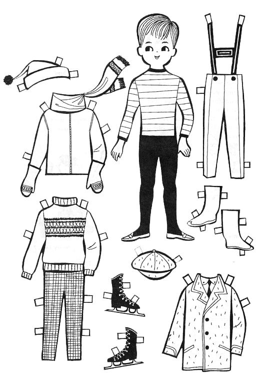 For kids paper dolls to color and cut out kids fun for Paper doll templates cut out