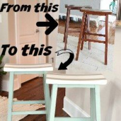 Give your saddle seat bar stools a little personality! You can paint new stuff too! Why not coordinate your bar stools with your decor, give them a makeover with paint!