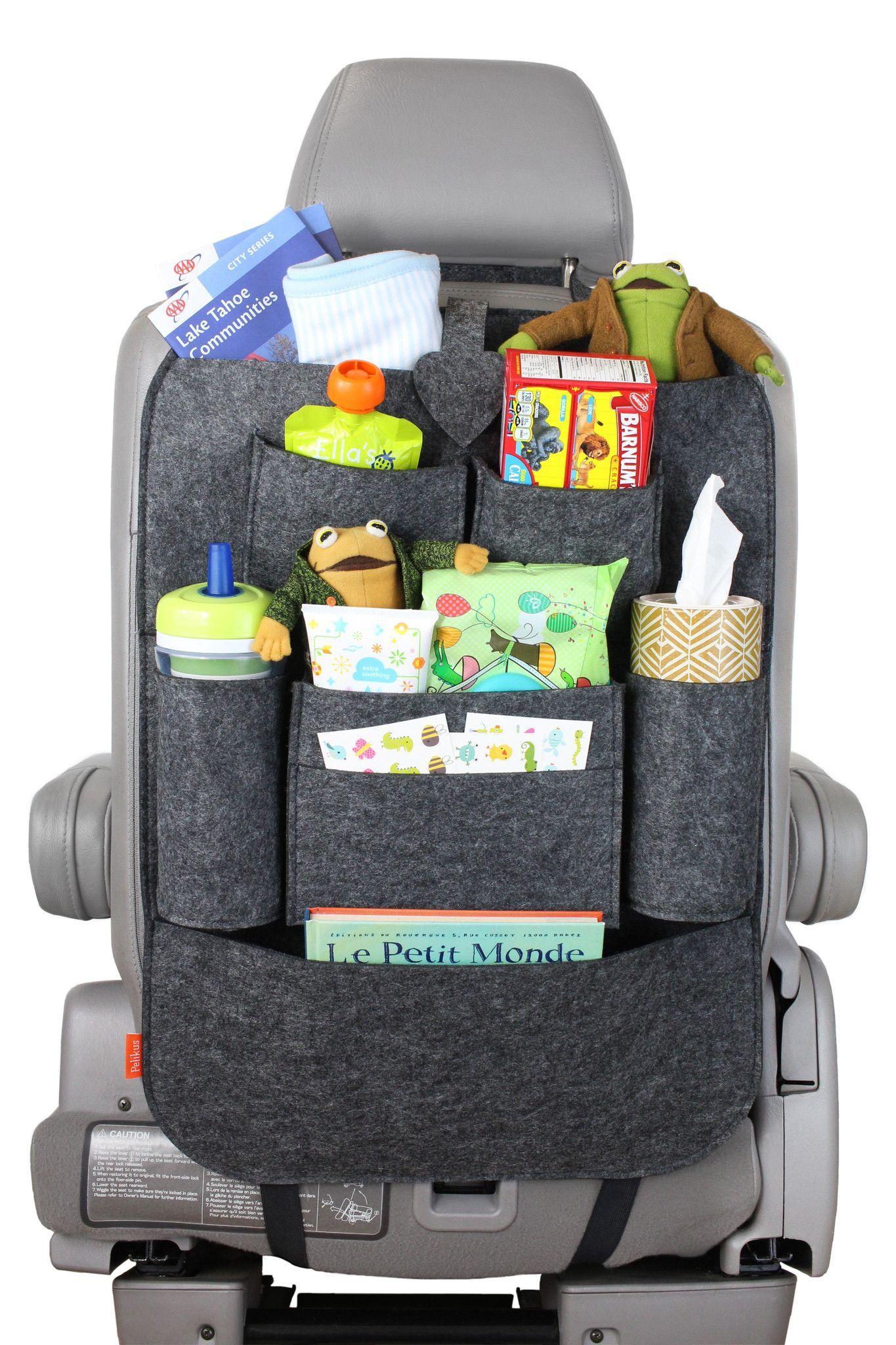 PelikusR Felt Multi Pocket Travel Car Seat Back Organizer Wet Ones Interactive Book IPad Dry Snacks Sippy Cup Stuffed Animal Kleenex Baby Wipes