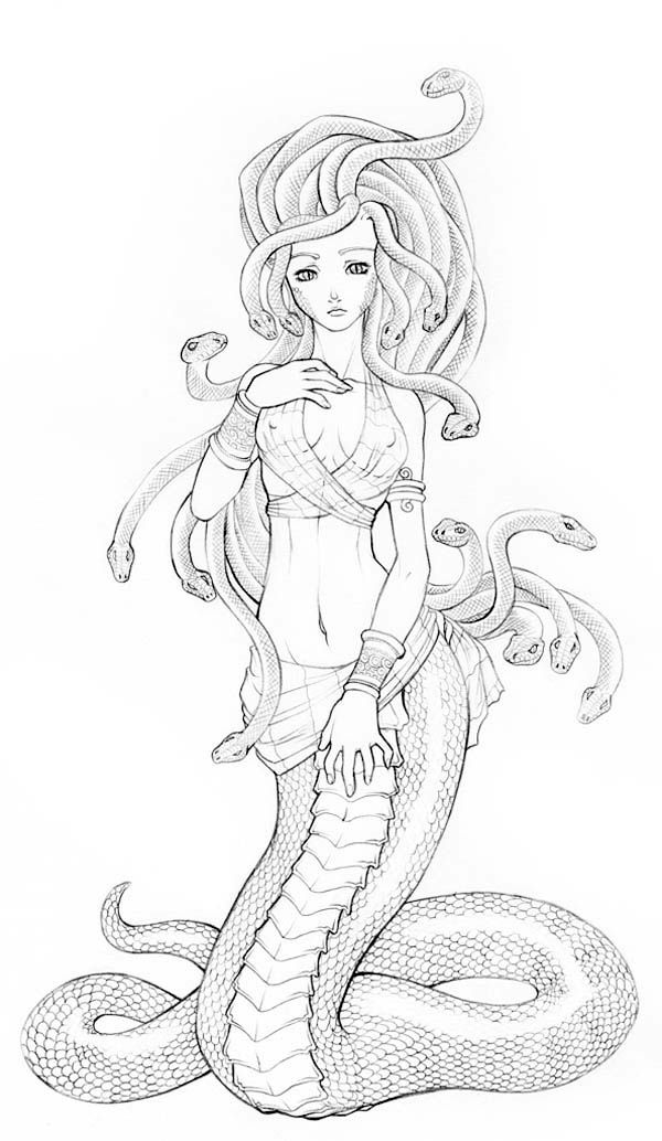 Beautiful Picture Of Medusa Coloring Page Netart Medusa Art Medusa Artwork Medusa Drawing