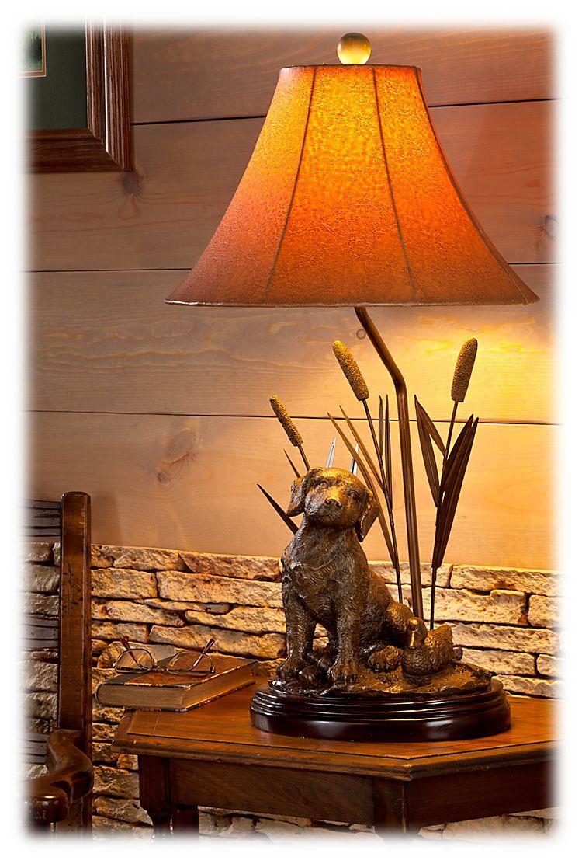 Hunting Dog Lamp English Irish Setter Retriever Rustic Cabin Lodge Decor