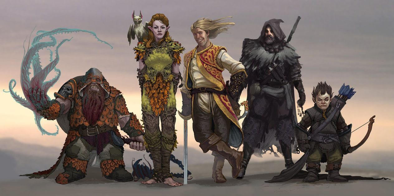 DnD Group Lineup by https://www.deviantart.com/stephen-0akley on  @DeviantArt | Fantasy character design, Character art, Character inspiration