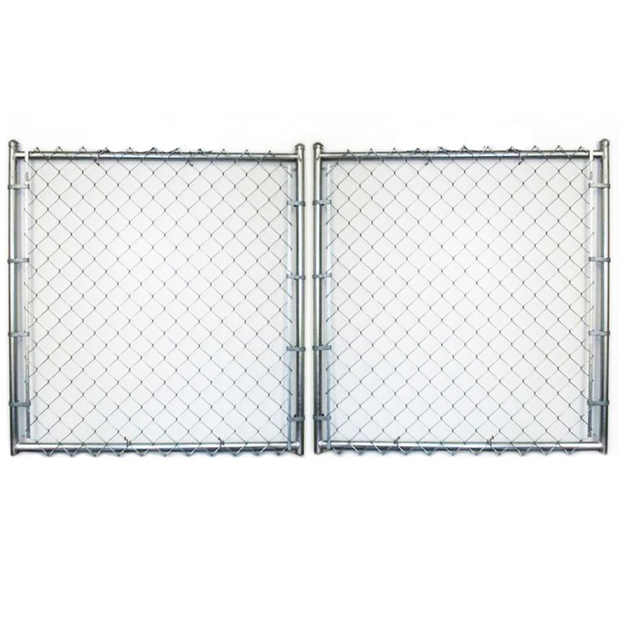Common 6 Ft X 14 Ft Actual 6 Ft X 13 5 Ft Galvanized Steel Chain Link Fence Gate At Lowes Com Chain Link Fence Gate Chain Link Fence Fence Gate