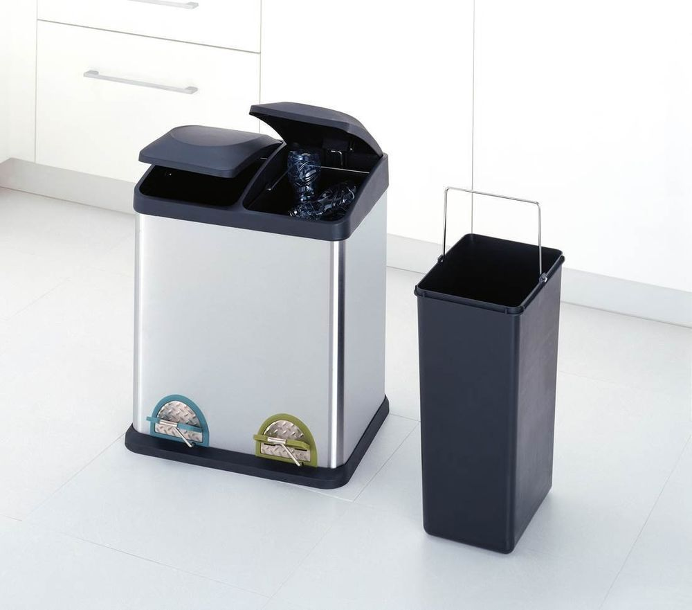 Double Compartment Stainless Steel Recycling Bin 30 Liter Kitchen Free Shipping