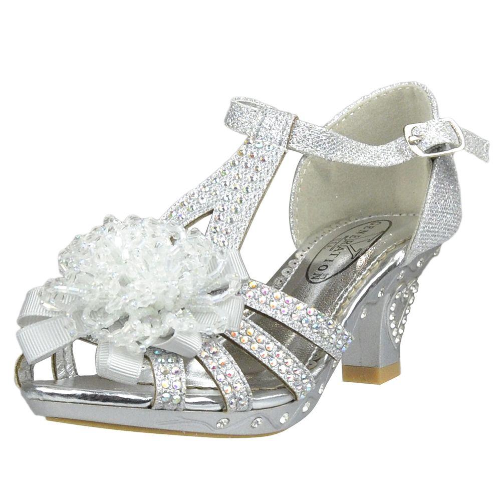 Kids Dress Sandals T-Strap Rhinestone Beaded Glit High Heel Shoes ...