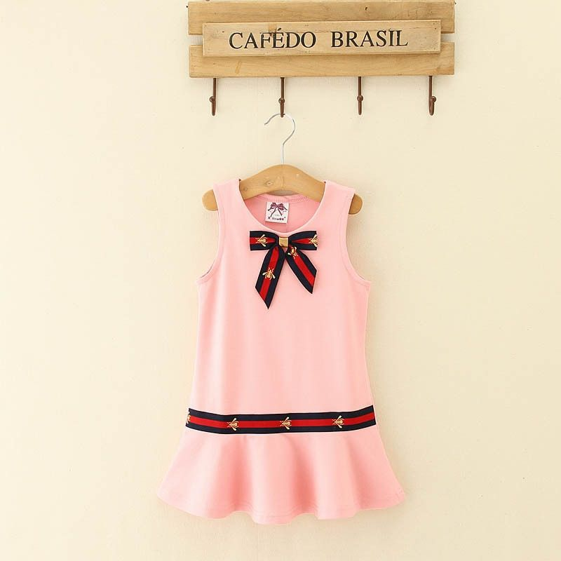 cd62b87c0 100% Cotton Europe and America Style Girls Dress Bow Sleeveless Casual Dress  Vest Dress kids autumn Clothing Comfortable