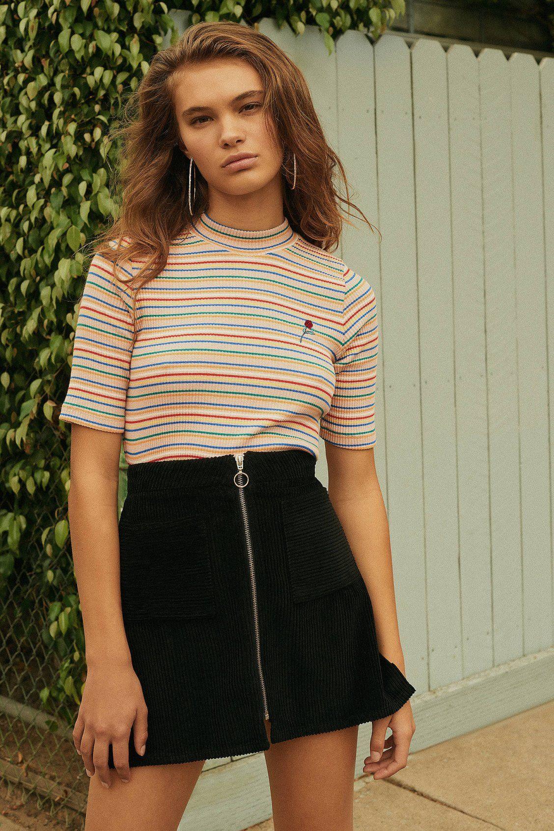 909a387d2d9 UO Jumbo Corduroy Zip A-Line Skirt