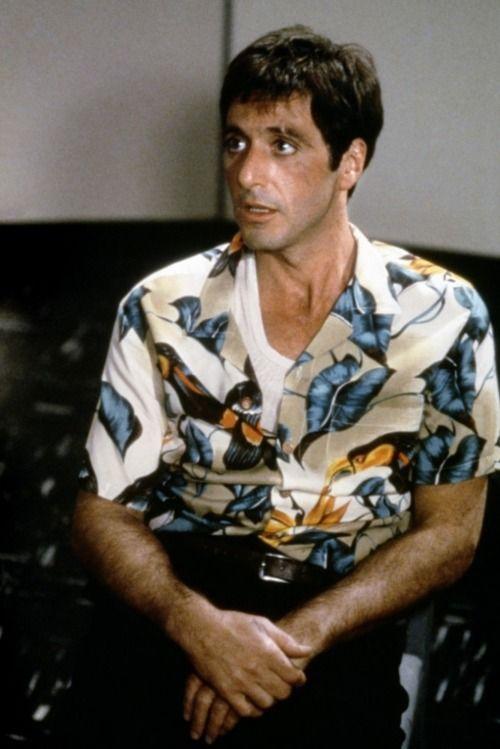 6323628b Tony M in flower shirt. | Celebs | Al pacino, Gangster movies, Call ...