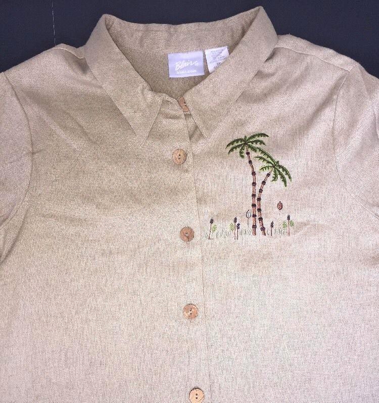 9f1a76d4dcc 3X Shirt Blouse Plus Size Linen Cotton Button Front Palm Trees Safari Blair  New  Blair