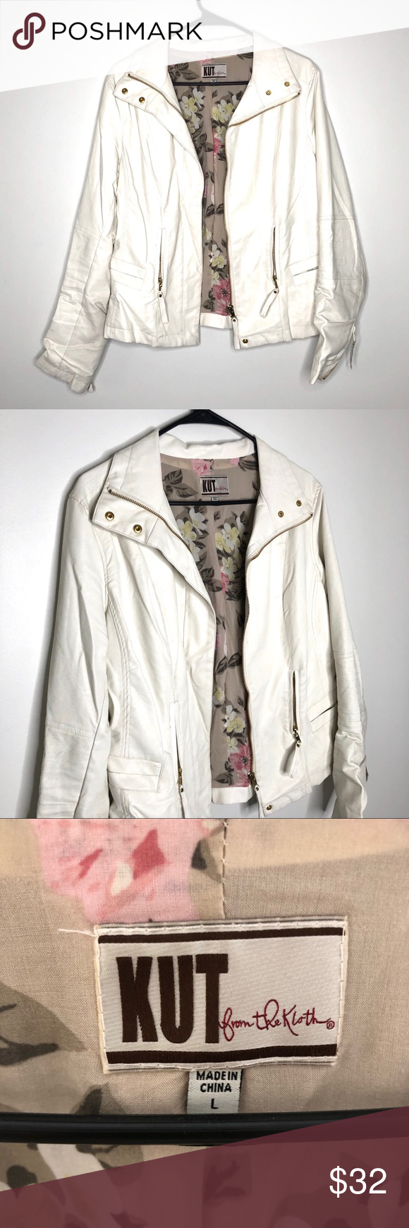 White Faux Leather Jacket Good used condition. Faux