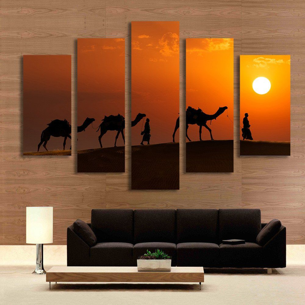 Paintings For Living Room Wall 5 Panel Walking On Desert Sunset Landscape Painting Wall Art