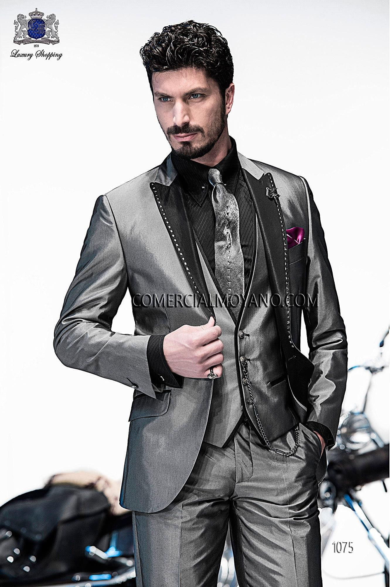 Italian bespoke gray fashion suit 3 pieces in cotton-silk fabric ...