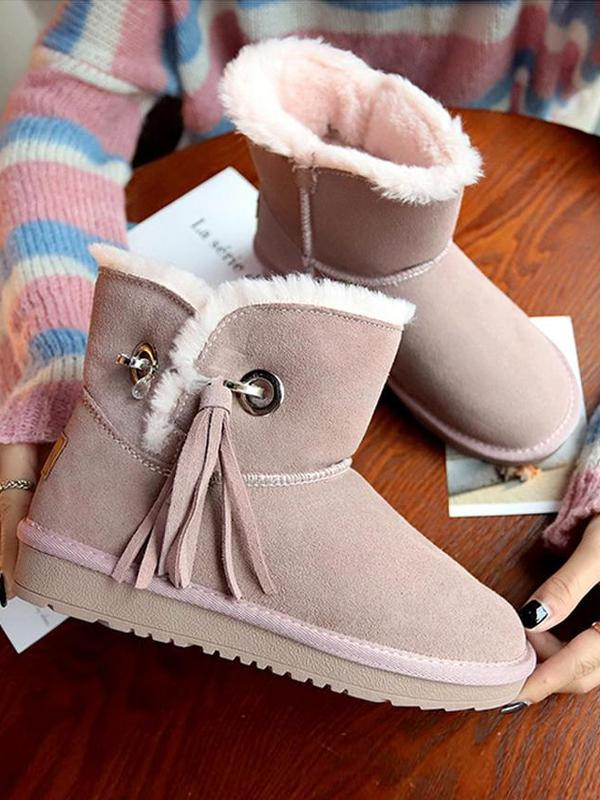 6ca4ddc955e Flat Bottom Velvet Tassel Short Tube Snow Boots Uggs | Products