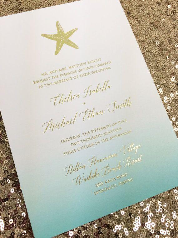 Teal Ombré Gold Foil Starfish Wedding Invitation