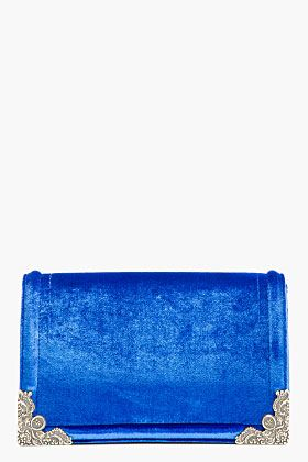 MCQ ALEXANDER MCQUEEN Royal Blue Velvet Box Clutch