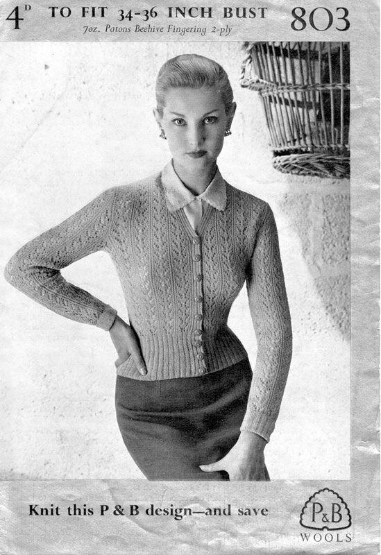 Patons 803 - Wartime 1940s vintage ladies cardigan knitting pattern ...