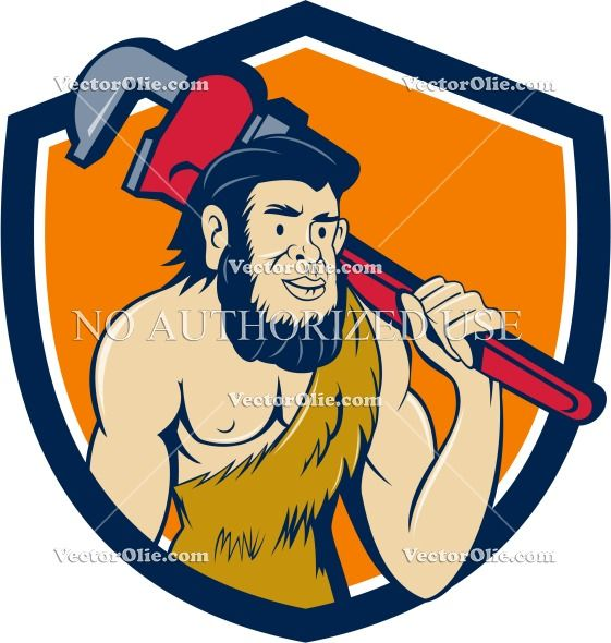 Neanderthal CaveMan Plumber Monkey Wrench Shield Cartoon Cartoon Stock Illustration. Illustration of a neanderthal man or caveman plumber holding monkey wrench on shoulder set inside shield crest on isolated background done in cartoon style. #illustration  #NeanderthalCaveManPlumber