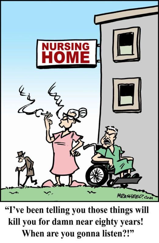 Nursing Home Cartoon | Funny Gag Cartoon #1: Nursing Home Smokers ...