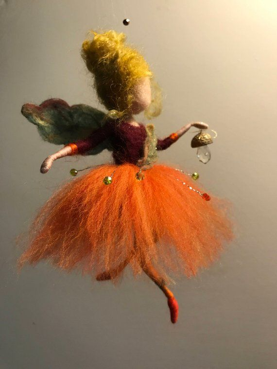 Photo of Needle felt fairy, Waldorf inspired, wool doll, Filtfee, autumn, orange, home decoration, art doll, mini doll, gift items, children's room
