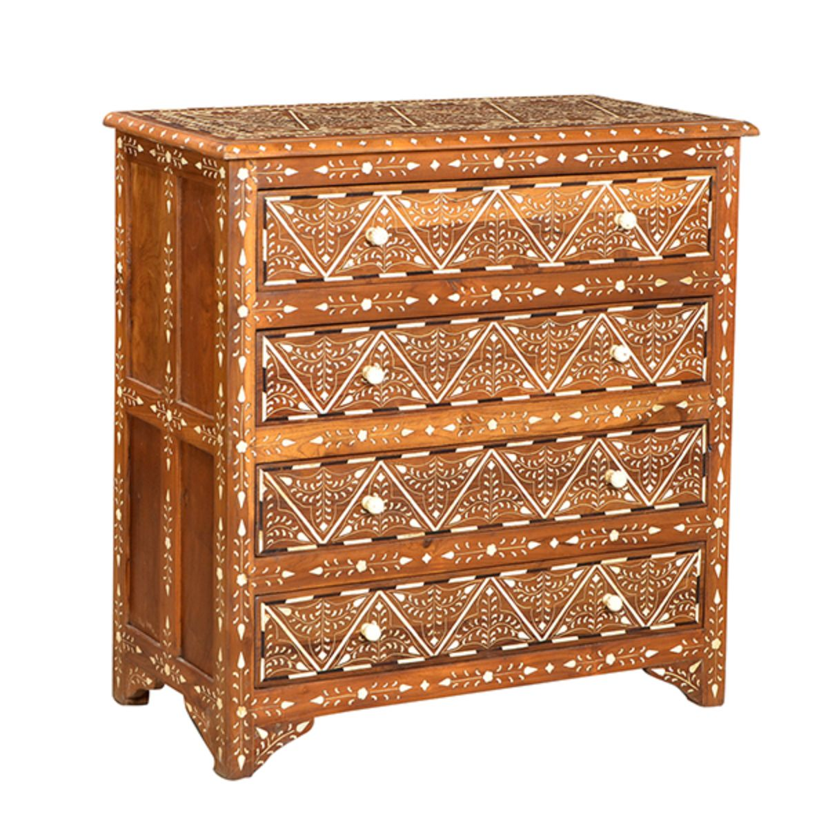 Teak wood four drawer dresser with intricate bone inlay work and hardware.  Hand waxed finish.