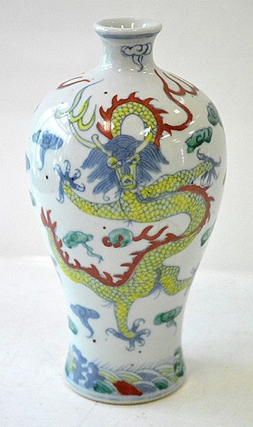 Chinese Doucai Dragon Vase With Six Character Wanli Mark To Base