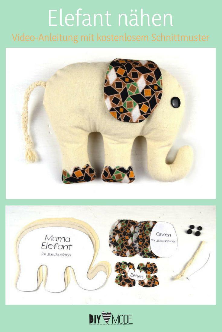 Sew DIY elephant / make your own cuddly toy DIY FASHION -  Elephant cuddly toy for children with fr