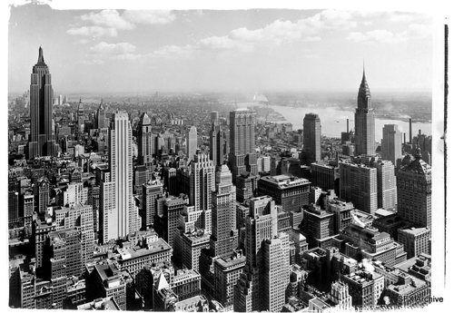 Vintage 1930 S Nyc New York City Aerial View 8 X 10 Glass Negative