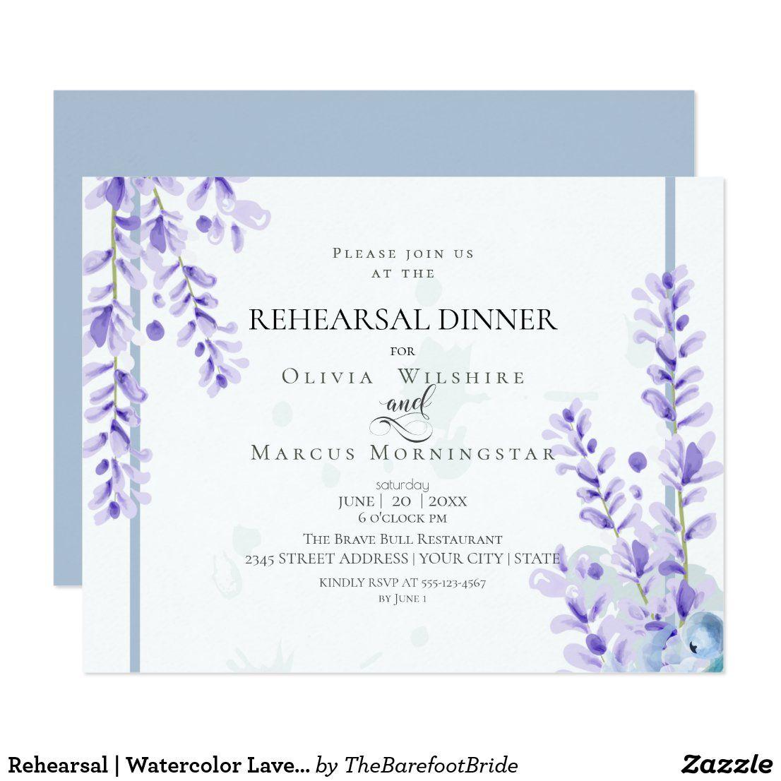 Rehearsal Watercolor Lavender Dusty Blue Floral Invitation Zazzle Com Floral Wedding Invitations Floral Invitation Floral Wedding Stationery