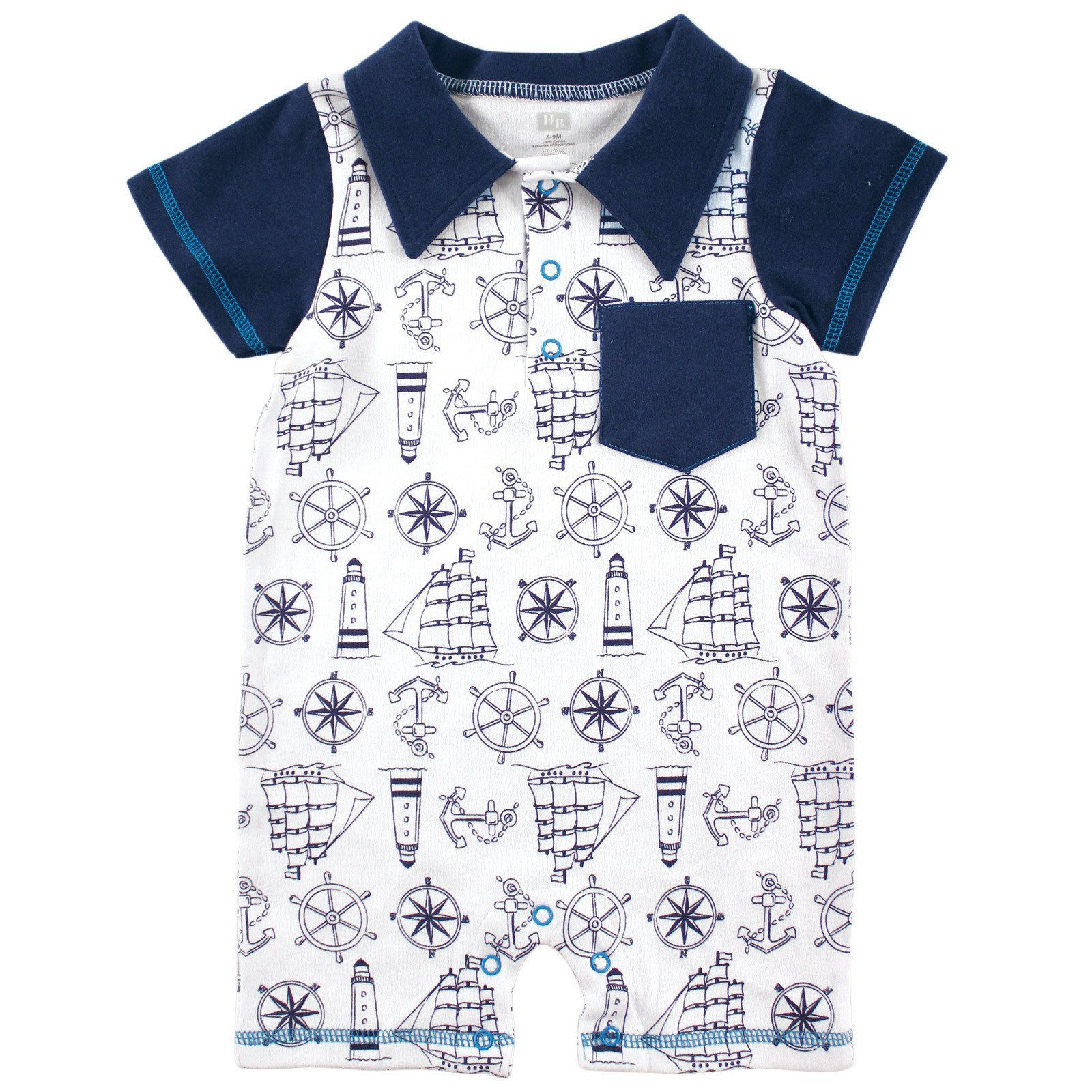 Hudson Baby Summer Romper Nautical Print 3 6 Months