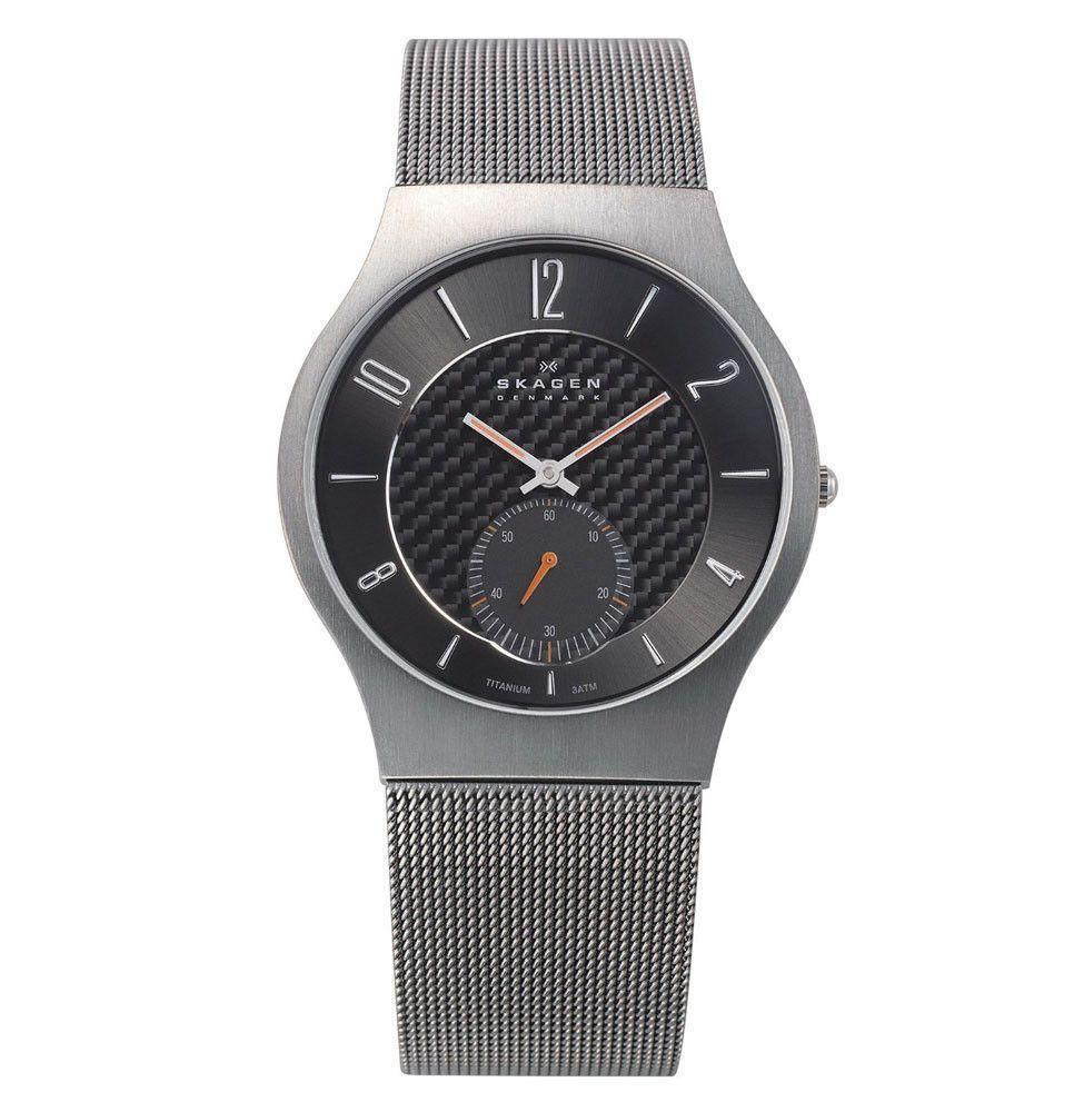 Skagen 805XLTTM1 Men's Denmark Quartz Mesh Bracelet Black Dial Titanium Watch