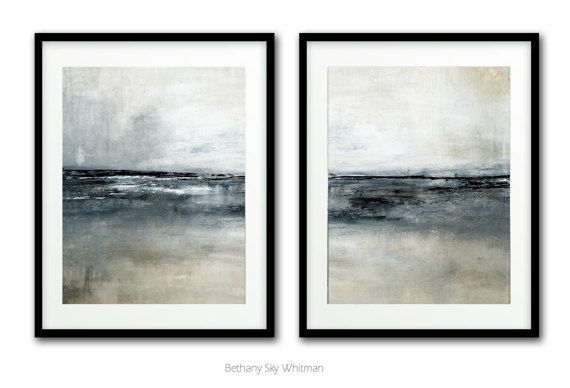 Abstract Print Digital Download Set Of Two Printable Art Gray Black