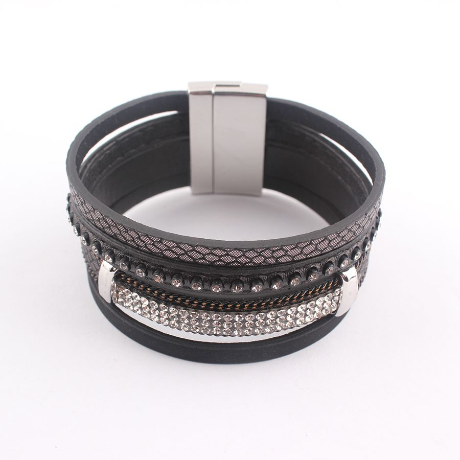 Alloy Crystal Wide Magnetic Clasp Leather bracelets&bangle 2016 New Fashion Multilayer Bracelets Jewelry for Women Men Gift B513