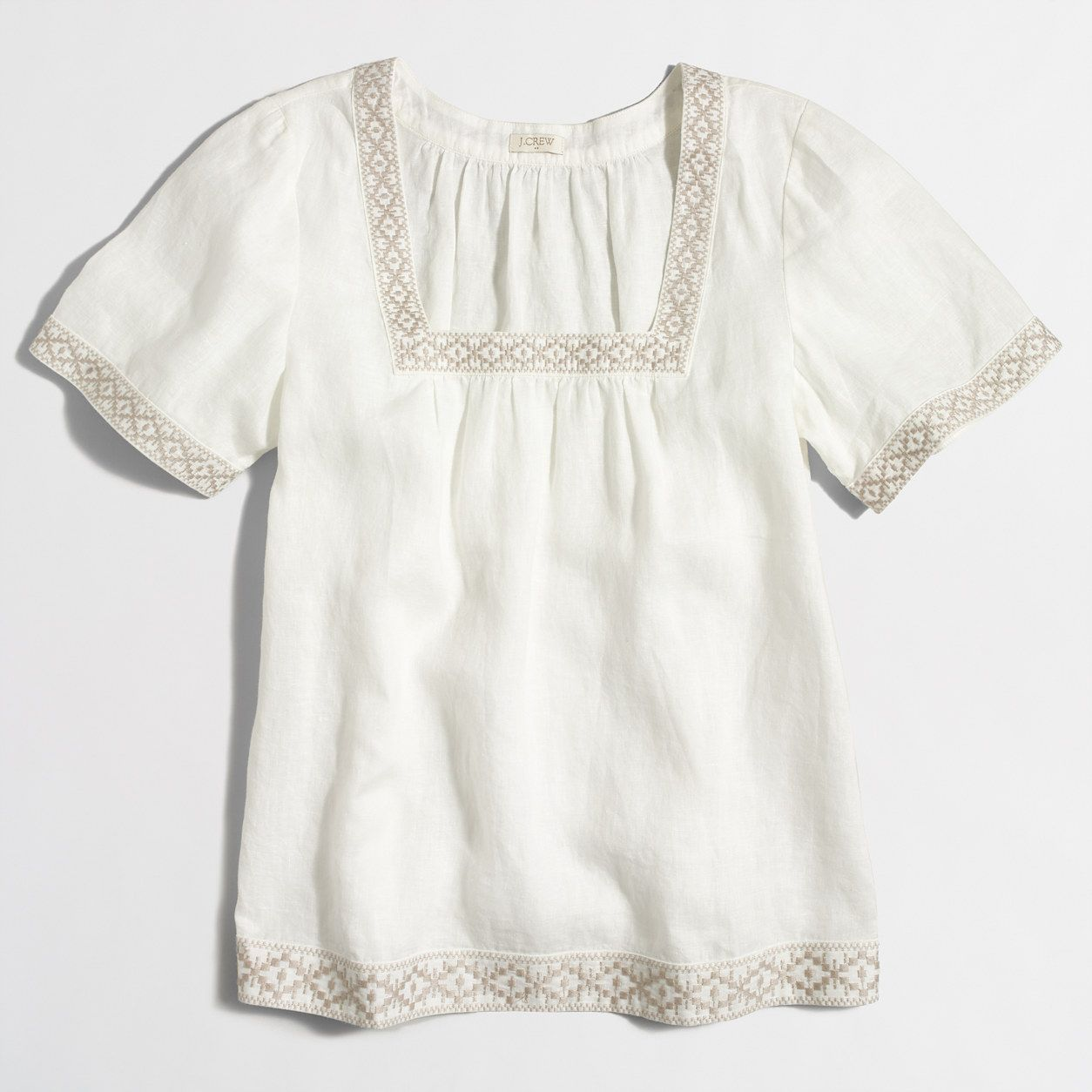 Factory embroidered peasant top   Linen  a4efc517c9