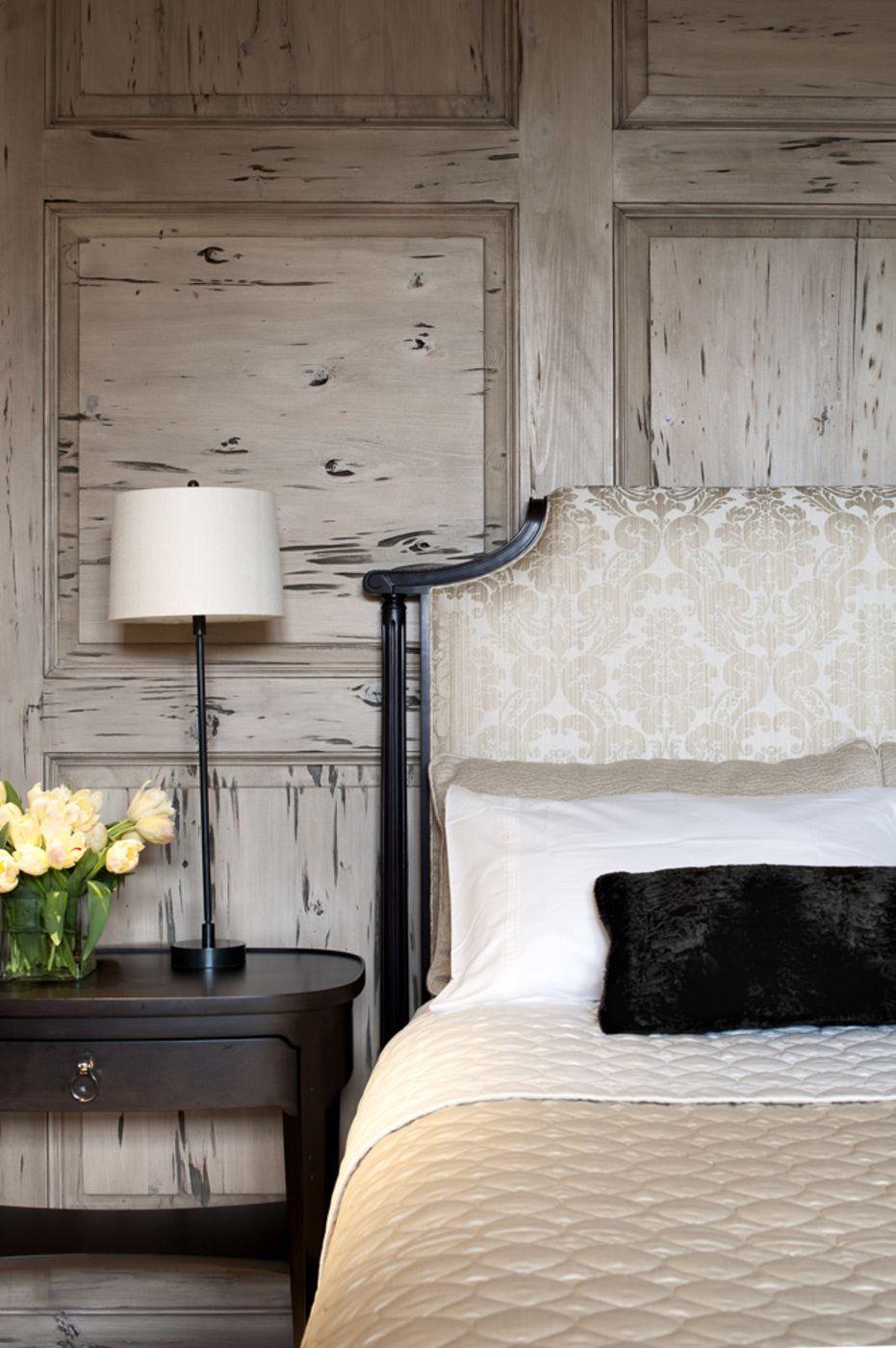 Pecky Cypress Paneled Wall Semerjian Interiors Master