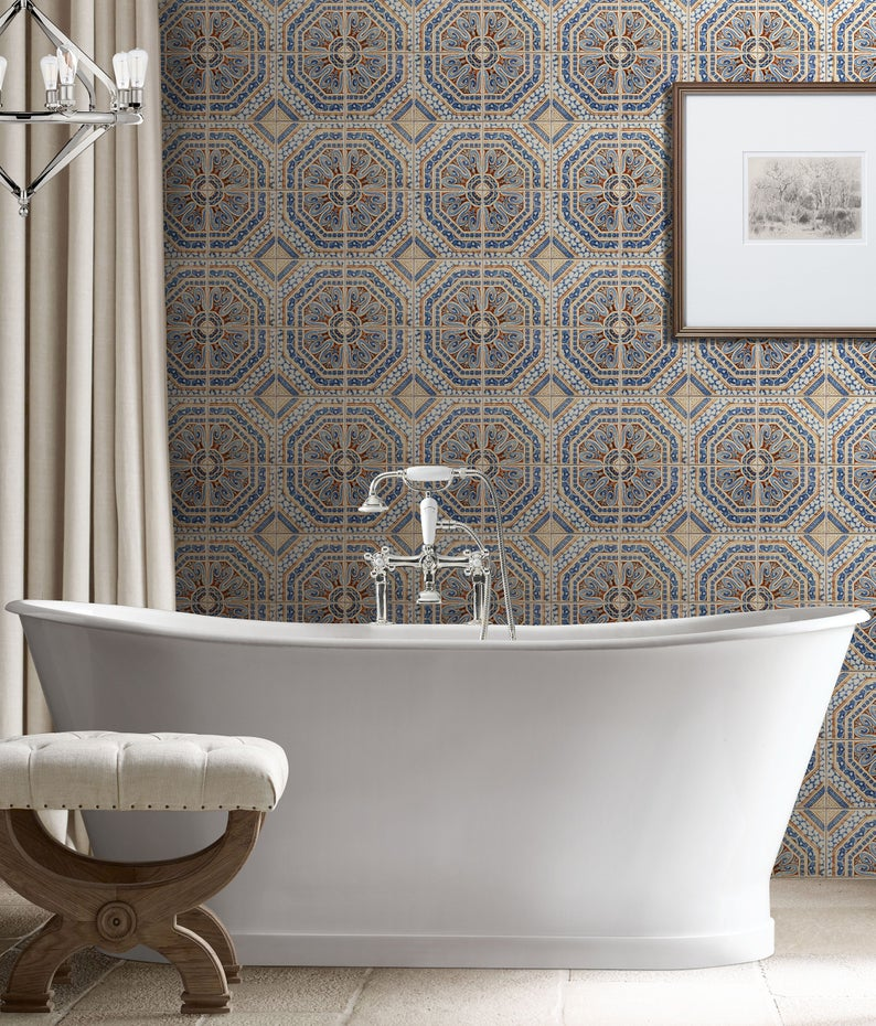 Moroccan Ceramic Tile Repositionable Removable Wallpaper Peel Etsy Removable Wallpaper Ceramic Tiles Shower Stall