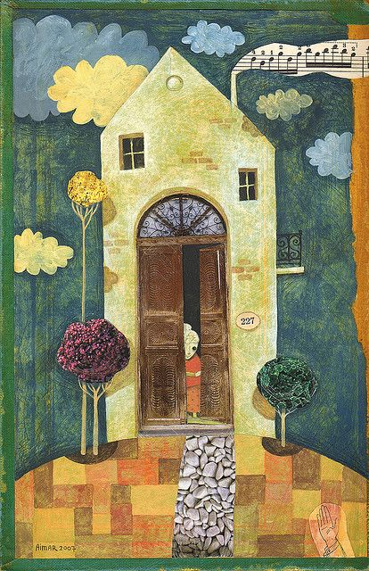 Gustavo Aimar art. I love that there is music coming out of the chimney.