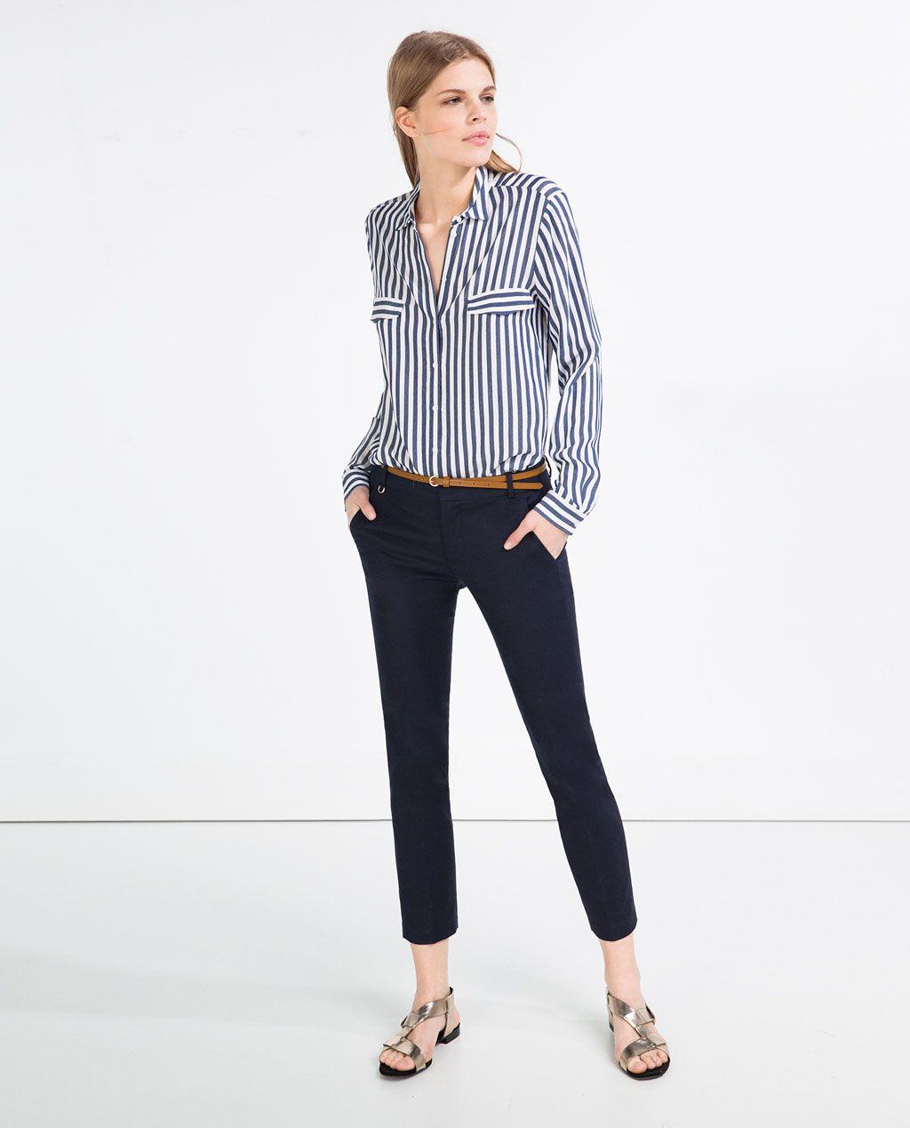 pantalones traje cinturon negros zara