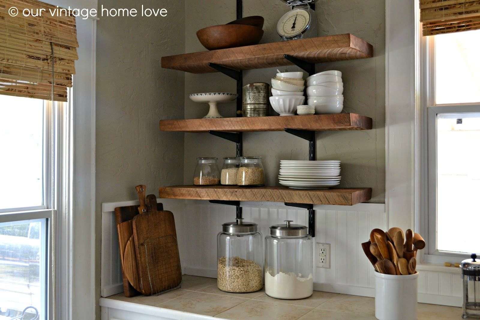 The Benefits Of Open Shelving In The Kitchen: Reclaimed Wood Open Shelving