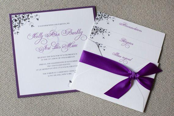Square Wedding Invitation Purple Wedding Invite Swirly Design